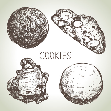 detailed: Hand drawn sketch sweet cookies set. Vector illustration