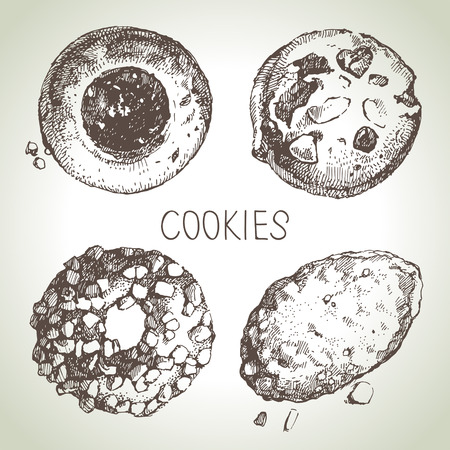 cookies and cream: Hand drawn sketch sweet cookies set. Vector illustration