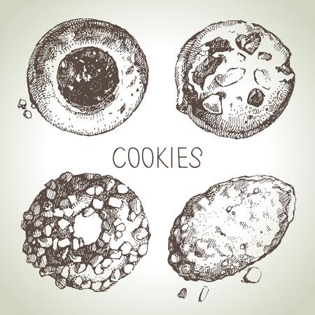 cookies: Hand drawn sketch sweet cookies set. Vector illustration