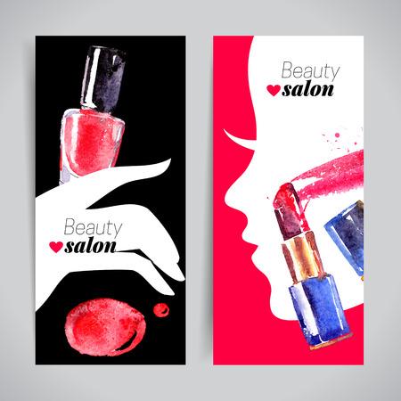artistas: Acuarela cosméticos bandera ajustado. Ilustración del vector. Diseño del salón de belleza
