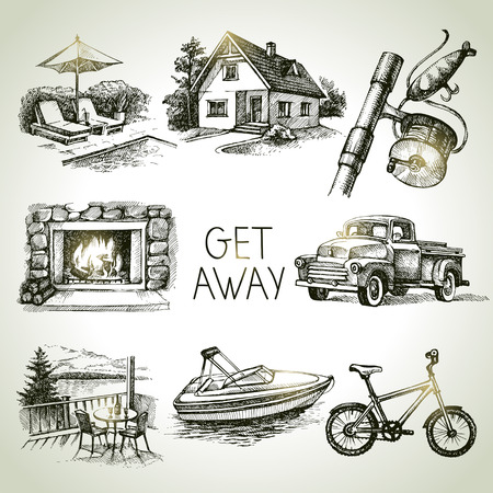 fishing village: Hand drawn sketch set of family vacation. Vector illustration Illustration