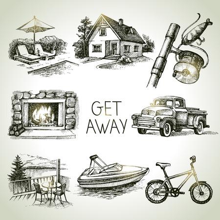 lake house: Hand drawn sketch set of family vacation. Vector illustration Illustration