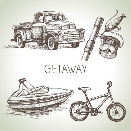 Hand drawn sketch set of family vacation. Vector illustration Vector