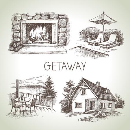 Hand drawn sketch set of family vacation. Vector illustration Stock Illustratie