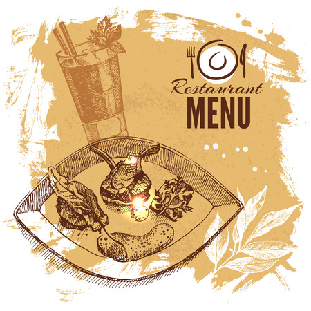 Hand drawn sketch restaurant food set. European cuisine menu. Vector illustration Vector