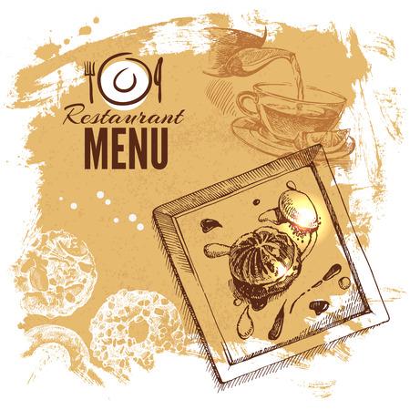 Hand drawn sketch restaurant food set. European cuisine menu. Vector illustration Ilustração