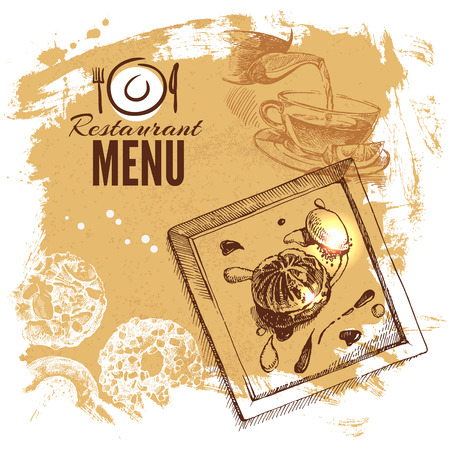 Hand drawn sketch restaurant food set. European cuisine menu. Vector illustration Illustration