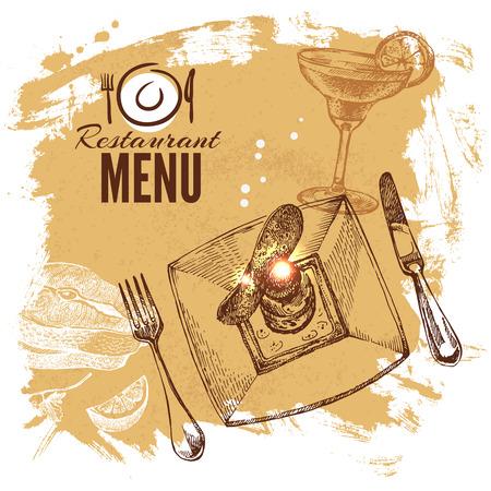 seafood salad: Hand drawn sketch restaurant food set. European cuisine menu. Vector illustration Illustration