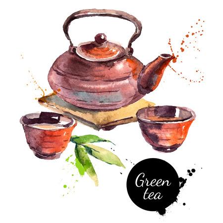 水彩の手には、塗装茶ベクトル図が描かれました。メニューのデザイン