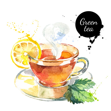 green banner: Watercolor hand drawn painted tea vector illustration. Menu design