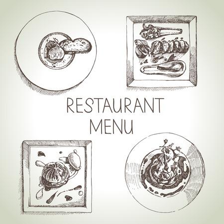 meat soup: Hand drawn sketch restaurant food set. European cuisine menu. Vector illustration Illustration