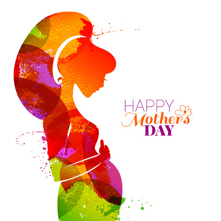 Vector watercolor effect illustration of beautiful pregnant woman isolated on white background. Card of Happy Mothers Day Çizim
