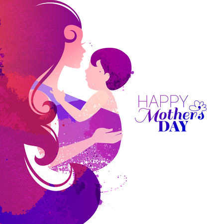 Vector watercolor effect illustration of mother silhouette with her baby. Card of Happy Mothers Day. Beautiful woman and child Vectores