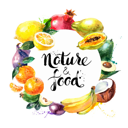 and organic: Eco food menu background. Watercolor hand drawn fruits. Vector illustration