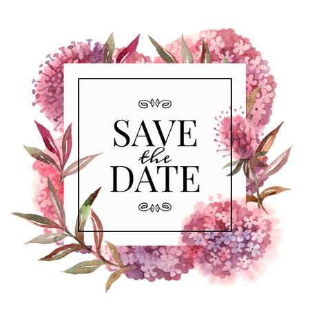 boda: Tarjeta de invitación de boda con las flores de la acuarela. Ilustración vectorial