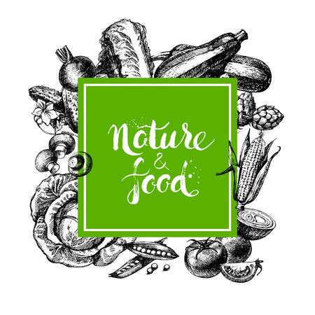 comida: Eco de fondo del menú de alimentos naturales. Dé el bosquejo exhausto verduras marco. Ilustración vectorial