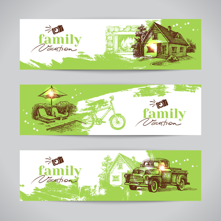 Family vacation vintage banner set with hand drawn sketch vector illustrations