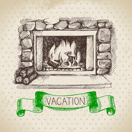 fishing village: Vintage hand drawn sketch family vacation background. Getaway poster. Vector illustration Illustration