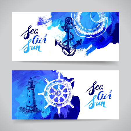 lifeline: Set of travel marine banners. Sea and ocean nautical design. Hand drawn sketch and acrylic illustration