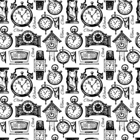 reloj cucu: Dibujado a mano relojes y relojes. Vintage mano dibujada patrón transparente boceto. Ilustración vectorial