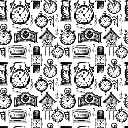 round the clock: Hand drawn clocks and watches. Vintage hand drawn sketch seamless pattern. Vector illustration