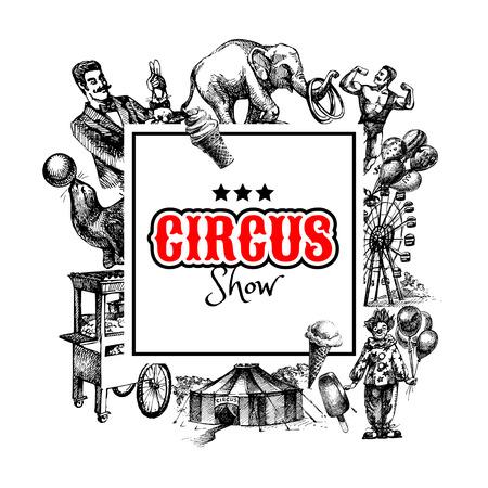 clown cirque: Tir� par la main de cirque de croquis et illustrations vecteur d'attractions. Carnaval vintage background frame