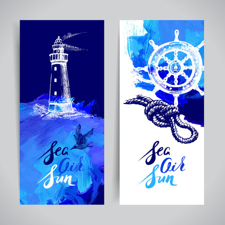 Set of travel marine banners. Sea and ocean nautical design. Hand drawn sketch and acrylic illustration 版權商用圖片 - 42910728