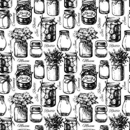 mermelada: Rústico, albañil y tarro de conservas. Vintage mano dibujada patrón transparente boceto. Ilustración vectorial