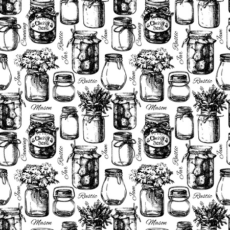 old style: Rustic, mason and canning jar. Vintage hand drawn sketch seamless pattern. Vector illustration