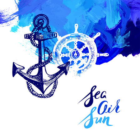 Travel marine background. Sea and ocean nautical design. Hand drawn sketch and acrylic illustration Ilustracja