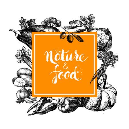 Eco natuurlijk voedsel menu achtergrond. Schets hand getekende groente frame. Vector illustratie Stock Illustratie