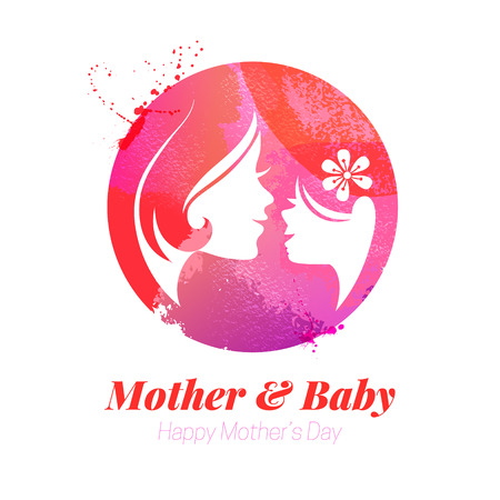 woman vector: Vector watercolor effect illustration of mother silhouette with her baby. Card of Happy Mothers Day. Logo of beautiful woman and child