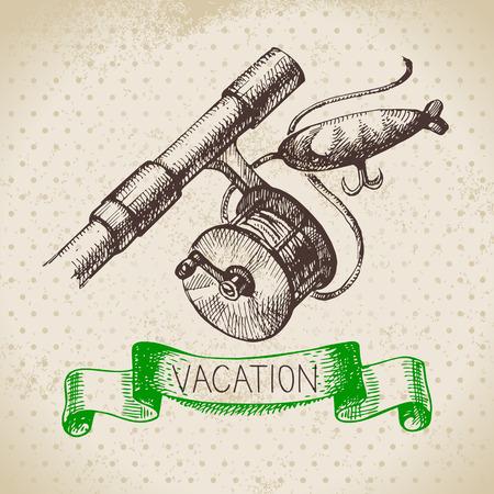 lake house: Vintage hand drawn sketch family vacation background. Getaway poster. Vector illustration Illustration