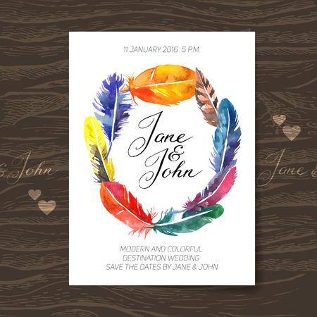Bruiloft uitnodiging kaart met waterverf veren. Boho ontwerp. Vector illustratie Stock Illustratie