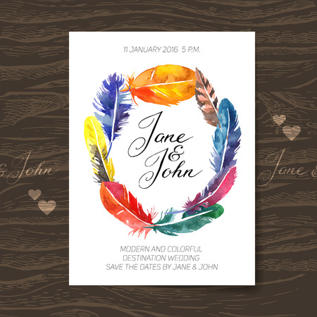 Wedding invitation card with watercolor feathers. Boho design. Vector illustration