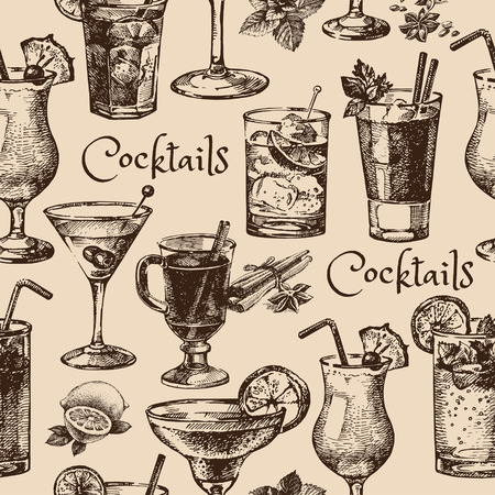 cocktail drinks: Hand drawn sketch seamless pattern of alcoholic cocktails. Vector illustration