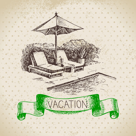 swimming pool: Vintage hand drawn sketch family vacation background. Getaway poster. Vector illustration Illustration