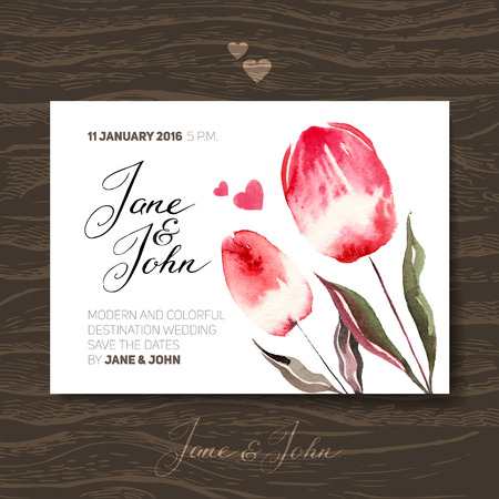 greetings card: Wedding invitation card with watercolor flowers. Vector illustration Illustration