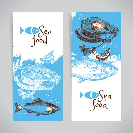 Hand drawn sketch seafood vector banners. Sea background set. Menu design
