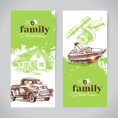 resort: Family vacation vintage banner set with hand drawn sketch vector illustrations