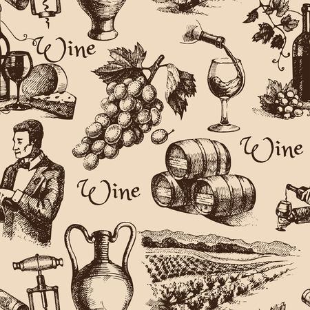 ワインのヴィンテージ手描きのスケッチのシームレス パターン