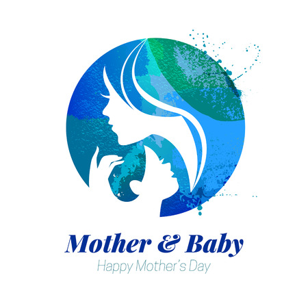 moms: Vector watercolor effect illustration of mother silhouette with her baby. Card of Happy Mothers Day. Logo of beautiful woman and child