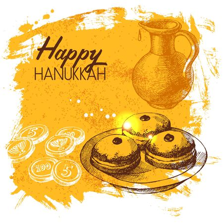 jewish festival: Hand drawn sketch Hanukkah background. Israel festival card. Vector illustration Stock Photo