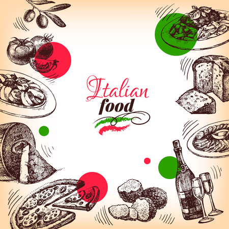 レストラン イタリア料理のメニューのデザイン。手描きスケッチのベクトル図 写真素材
