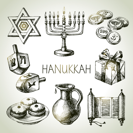 chanukah: Hand drawn sketch Hanukkah elements set. Israel festival objects and symbols. Vector illustration