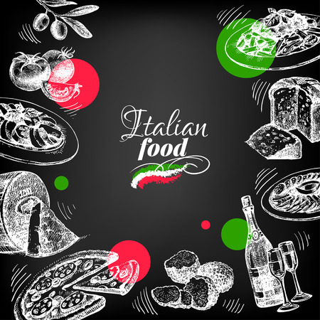 Restaurant chalkboard Italian cousine menu design. Hand drawn sketch vector illustration