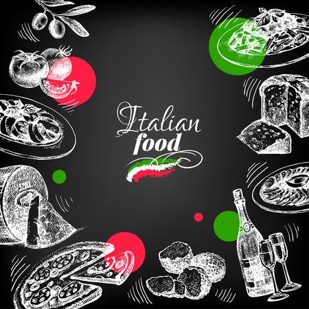 restaurante italiano: Restaurante pizarra diseño del menú cocina italiana. Mano boceto dibujado ilustración vectorial