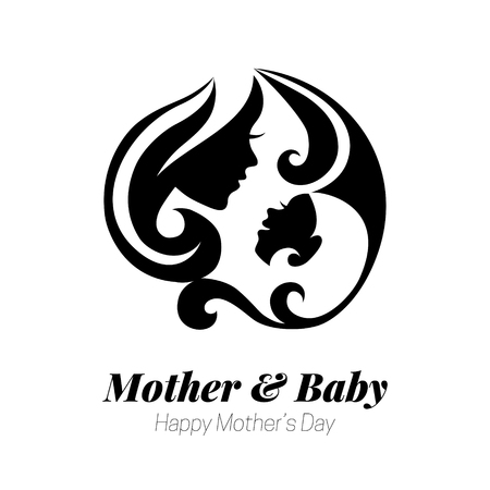 Vector illustration of mother silhouette with her baby. Card of Happy Mothers Day. Logo of beautiful woman and child