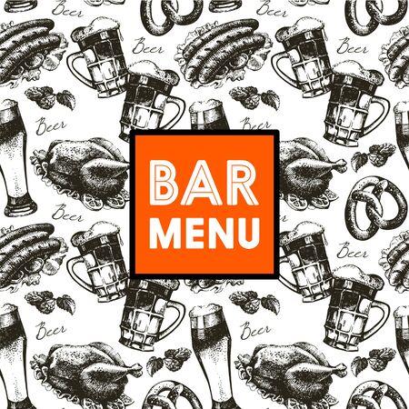 bier: Menu for restaurant, cafe, bar. Oktoberfest vintage background. Hand drawn illustration. Retro design with beer