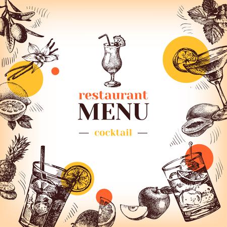 frutas tropicales: Menú del restaurante de la vendimia. Dibujado a mano cócteles croquis y frutas ilustración vectorial